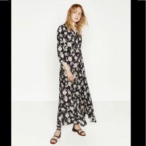Zara maxi dress floral button down collard sleeves
